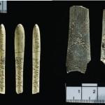 Obr. 4: Zlomky kostěného náčiní zdobeného rytými geometrickými motivy, pohoří Sabaloka, Súdán, výzkum ČEgÚ FF UK (foto Martin Frouz).