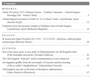 Prague Egyptological Studies XVII/2016 contents